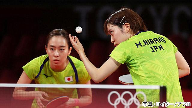 東京2020オリンピック 卓球女子 団体(石川佳純・平野美宇)写真:ロイター/アフロ