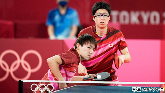 東京2020オリンピック 卓球(水谷隼・ 丹羽孝希)写真:AP/アフロ